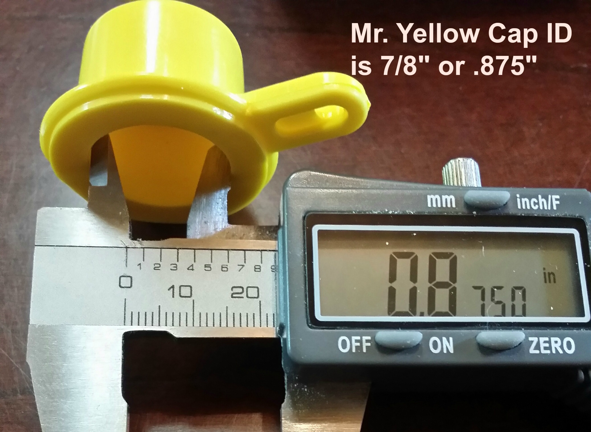 FAQ inside diameter of Mr. Yellow Cap
